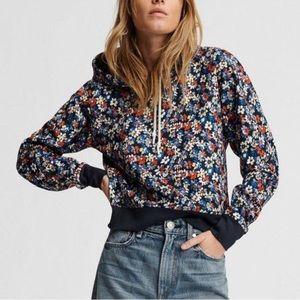 NWT Rag & Bone Navy Blue Floral Hoodie Sweatshirt